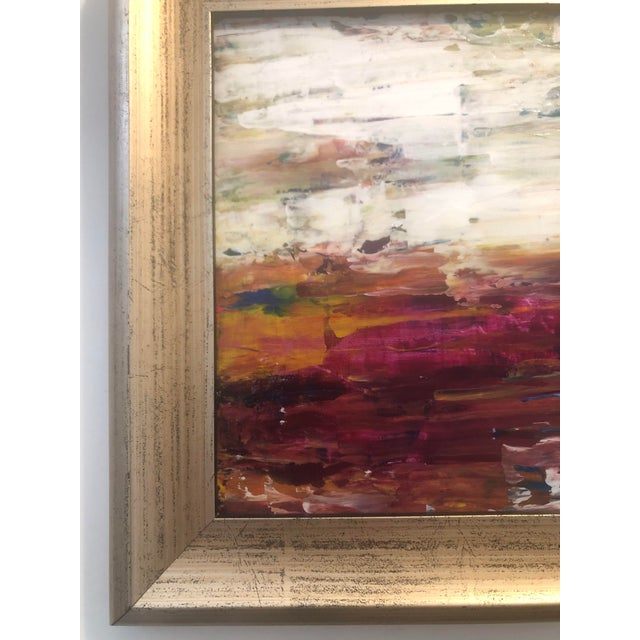 """Paint """"Warm Horizon"""" Contemporary Abstract Expressionist Acrylic Painting, Framed For Sale - Image 7 of 9"""