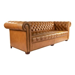Tobacco Brown Leather Chesterfield Sofa For Sale
