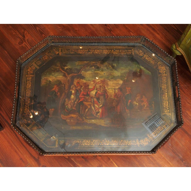 English Traditional 19c. Painted Tray as a Coffee Table For Sale - Image 3 of 11
