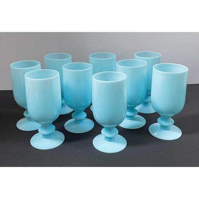 1930s Portieux Vallerysthal French Blue Opaline Cocktail / Low Stem Wine Glasses - Set of 9 For Sale In Chicago - Image 6 of 13