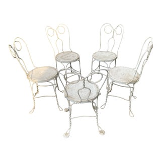 """Vintage Garden Chairs, Painted Wrought Iron (""""Ice Cream Parlor"""" Style) - Set of 5 For Sale"""