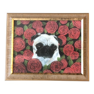Original Contemporary Pug in Roses Dog Print by Judy Henn For Sale