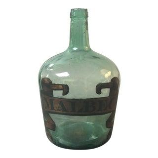 """Malbec"" Label Green Glass Bottle For Sale"