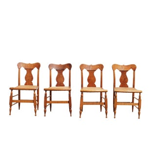 Tiger Maple & Cane Chairs - Set of 4