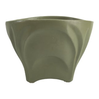 Mid-Century Army Green Cachepot Planter For Sale