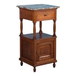 Antique Oak Marble Top Nightstand