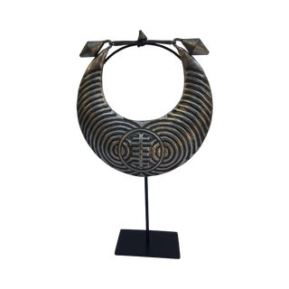 Vintage Tribal Metal Necklace on Stand For Sale