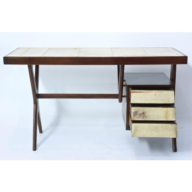 Brown Italia Modern Mahogany and Parchment Desk, Silvio Cavatorta For Sale - Image 8 of 10