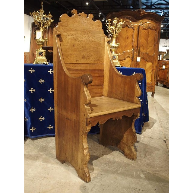 Antique Walnut Wood Armchair from Italy, 1700s For Sale - Image 9 of 10