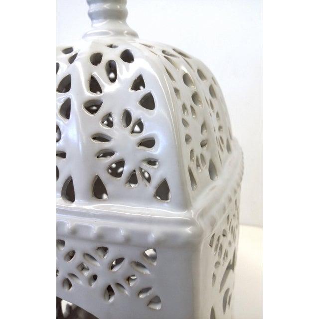 Marrakesh-Style White Ceramic Candleholder - Image 3 of 7