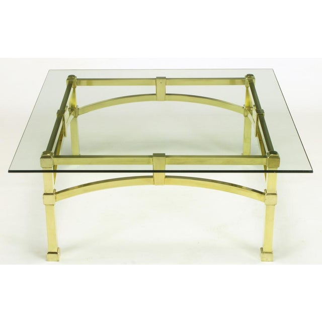 Italian Postmodern Architectural Brass & Glass Coffee Table - Image 2 of 10