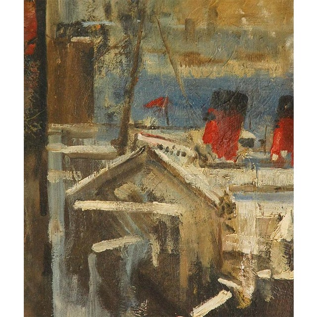 Art Deco 1940s Oil Painting of Bear Overlooking Shipyard For Sale - Image 3 of 9