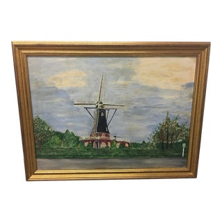 Vintage Mid-Century East Coast Windmill Landscape Painting For Sale