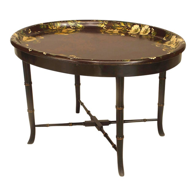 English Victorian Papier Mâché Tray Top Coffee Table For Sale