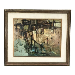 1960s Vintage Nhek Dim Abstract Oil on Canvas Painting For Sale