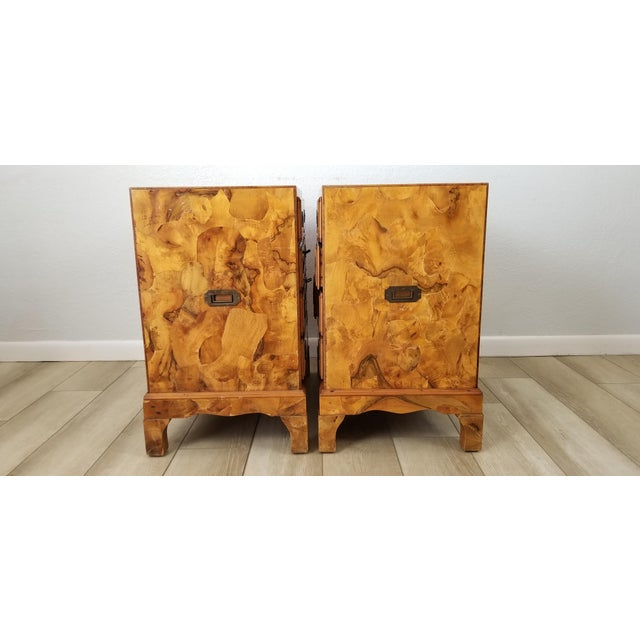 Italian Campaign Style Burlwood Patch Chest / Nightstands - a Pair For Sale In Miami - Image 6 of 13
