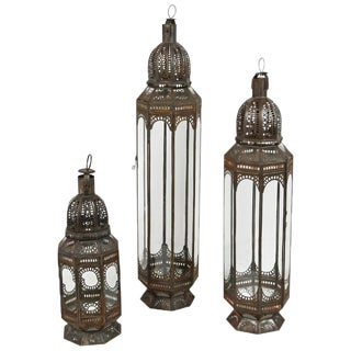 Large Moroccan Clear Glass Lanterns - set of 3 For Sale