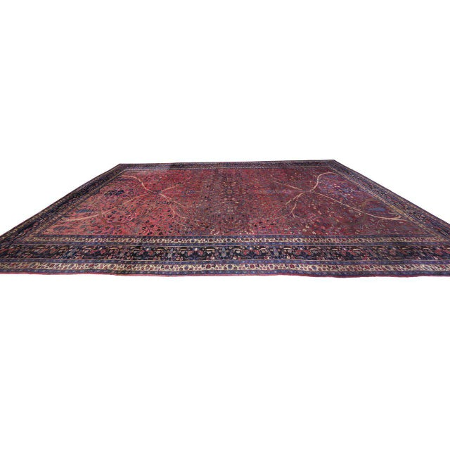 Captivating Antique Persian Mashhad Gallery Rug in Jewel Tone Colors For Sale In Dallas - Image 6 of 10