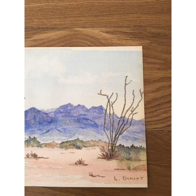 Vintage Desert Watercolor Painting For Sale - Image 4 of 6