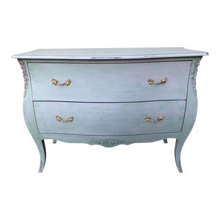 Washed Green Finish Bombe Chest For Sale