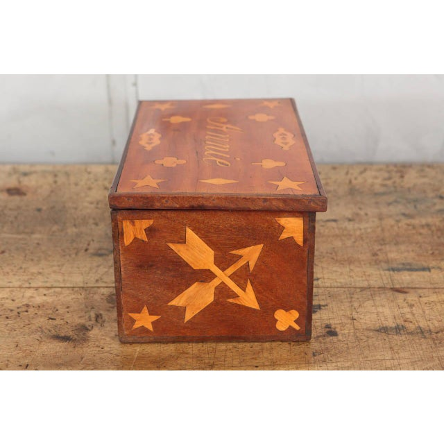 Antique Inlaid Sailor Box For Sale - Image 4 of 6