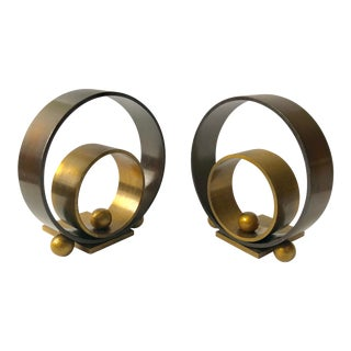 "1930s Vintage Walter Von Nessen Art Deco/Machine Age Chase ""Hoops and Balls"" Bookends - a Pair For Sale"