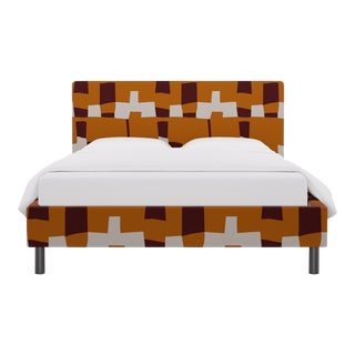 Queen Tailored Platform Bed in Spice Quilt For Sale