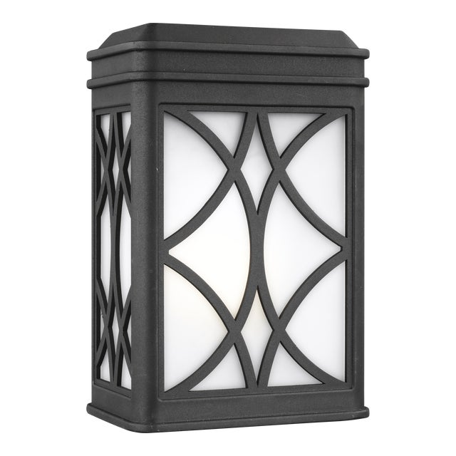 Transitional Audrey Small One Light Outdoor Wall Lantern, Black For Sale - Image 3 of 3