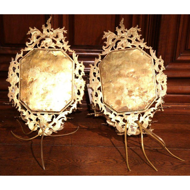 19th Century French Napoleon III Bronze Sconces With Beveled Glass - A Pair For Sale In Dallas - Image 6 of 6