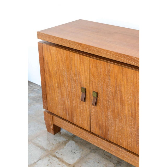 French Modern Cerused Oak and Leather Four-Door Credenza, Style of Jacques Adnet For Sale In Miami - Image 6 of 9