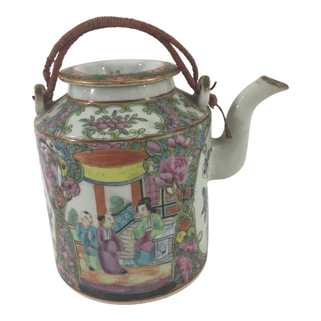 19th Century Rose Medallion Teapot For Sale
