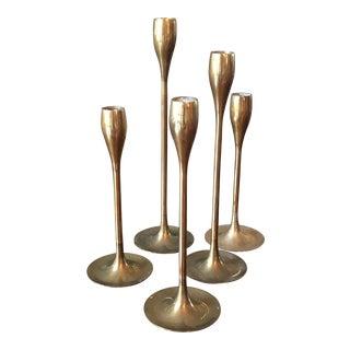 Vintage Brass Candlesticks - Set of 5
