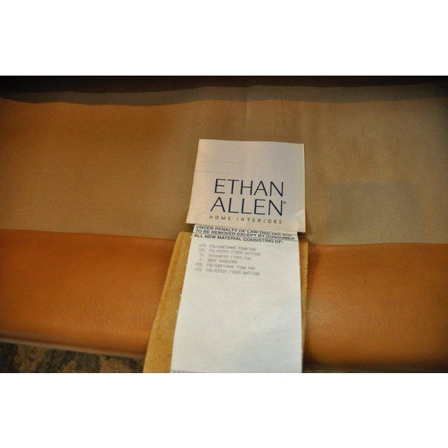 Tan Ethan Allen 3 Seat Chesterfield Style Leather Tufted Sofa For Sale - Image 8 of 10