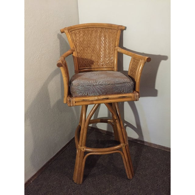 Vintage Whitecraft Rattan Swivel Barstool For Sale - Image 9 of 9