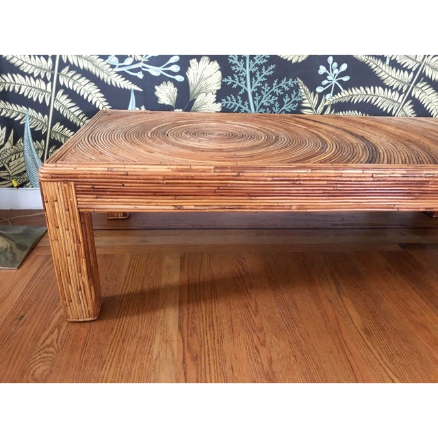 Mid 20th Century Vintage Split Reed Bamboo Coffee Table For Sale - Image 5 of 11