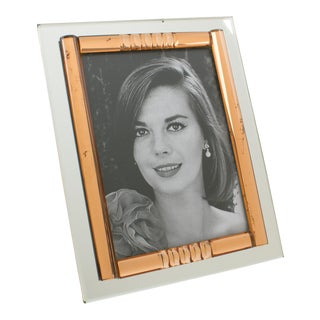 French 1940s Copper Pink and Silver Mirror Picture Frame For Sale
