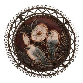 Majolica Wire Rimmed Bird Plate