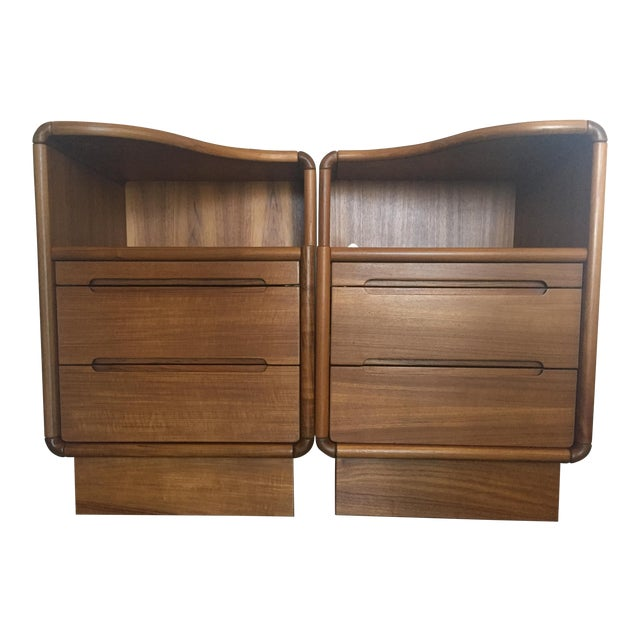 Contemporary Teak Nightstands - A Pair - Image 1 of 8