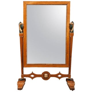 Egyptian Revival Cheval Glass Mirror From Napoleonic Palazzo R. DI Bologna For Sale