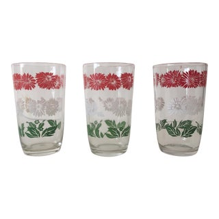 Vintage Floral Multicolor Juice Glasses - Set of 3