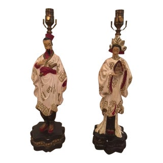 Vintage Chinoiserie Chalkware Figural Lamps - A Pair For Sale