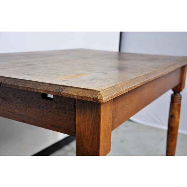 Vintage French Oak Farmhouse Dining Table For Sale In New York - Image 6 of 12