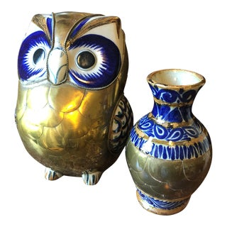 Bustamante Style Brass and Ceramic Owl and Vase For Sale