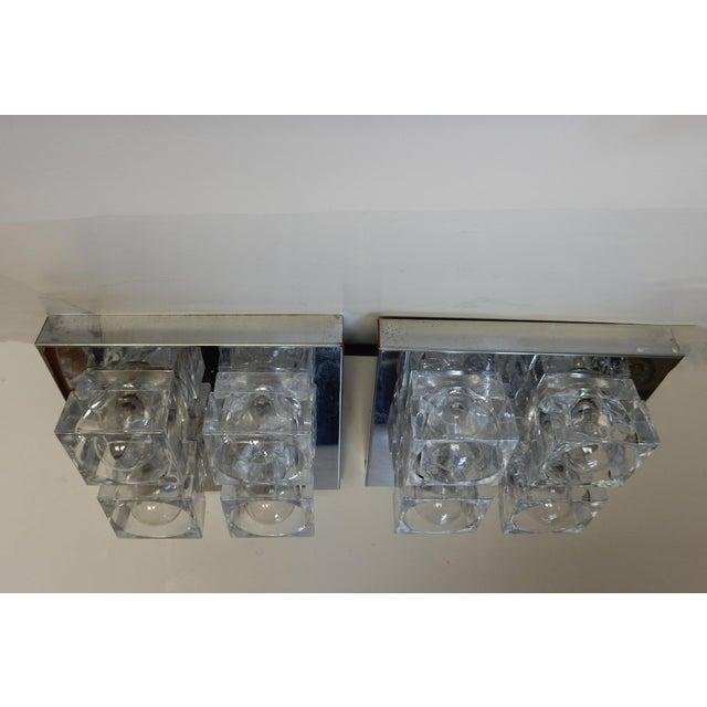 Italian Sciolari Chrome & Crystal Flush Mounts - a Pair - Image 9 of 9