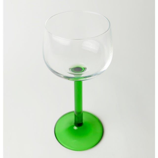 1980s Arcoroc Luminarc French Wine Glasses With Green Stems - Set of 4