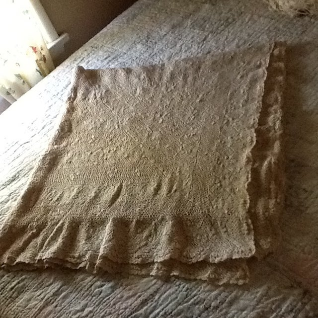 Vintage Boho Crocheted Coverlet or Tablecloth - Image 10 of 11