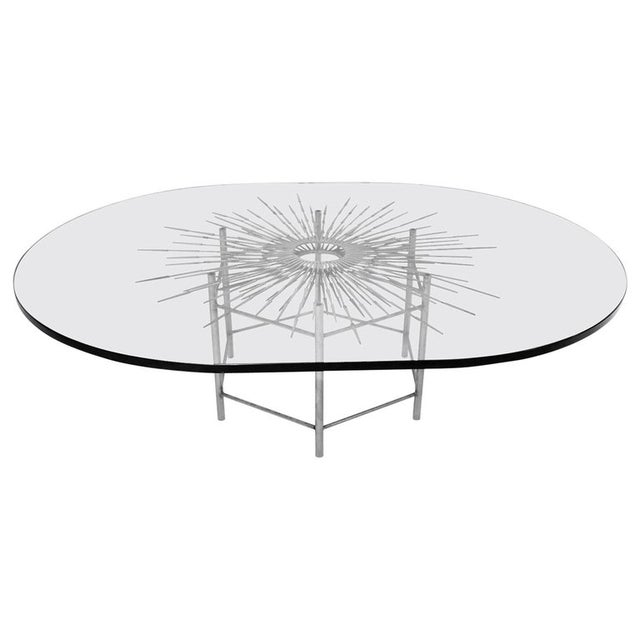 Bespoke Brutalist Welded Steel Sunburst With Thick Oval Glass Top Table For Sale - Image 11 of 11