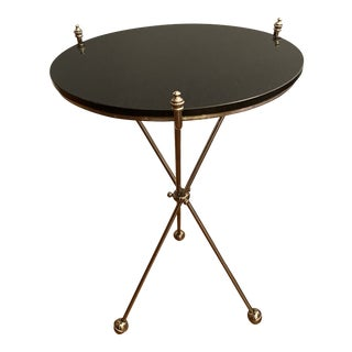 Vintage Maison Bagues Nickel and Marble Campaign Style Tripod Side Table For Sale