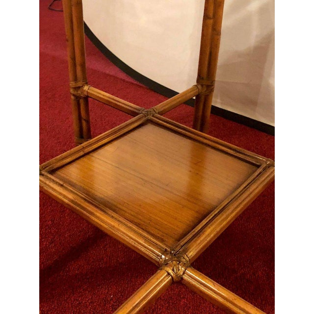 Brown Maitland Smith Bamboo Form Octagon Shaped End / Lamp Table With Bevelled Glass For Sale - Image 8 of 13