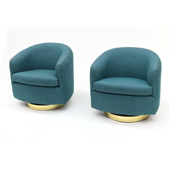 1980s Vintage Thayer Coggin Swivel Tilt Barrel Lounge Chairs by Milo Baughman- A Pair For Sale In New York - Image 6 of 11